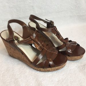 Etienne Aigner brown cork wedge Sandler's size 7.5